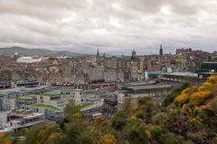 Cityscape of Edinburgh City from the hilltop of Calton Hill in central Edinburgh, Scotland, UK. Cityscape view of the old town district of Edinburgh City from royalty free stock image