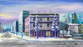 Cityscape efter vintersnö Arkivbilder