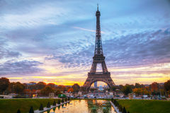 Cityscape with the Eiffel tower in Paris, France. At sunrise Royalty Free Stock Photography