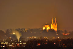 Cityscape, Eindhoven city at night. Cityscape,Region Eindhoven, Geldrop Mierlo city, beautiful dome church of Geldrop at night taken  from the only artificial Stock Photography