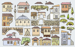Cityscape elements  set.Hand drawn isolated sketchy houses Royalty Free Stock Image