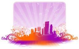 Cityscape en bloemenelementen royalty-vrije illustratie