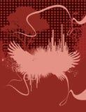Cityscape en de vleugels van Grunge Stock Afbeeldingen