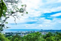 Cityscape en overzees van Hua Hin-stranden royalty-vrije stock fotografie