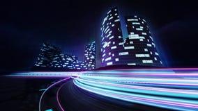 Cityscape en rasspoor met kleurrijke lichte lijnen Royalty-vrije Stock Foto