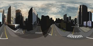 Cityscape. Environment map. HDRI map. Equirectangular projection. Spherical panorama Royalty Free Stock Photo