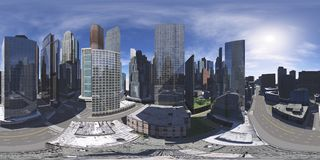 Cityscape. Environment map. HDRI map. Equirectangular projection. Spherical panorama stock photo