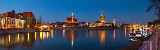 Cityscape, evening panorama - view of the city Wroclaw and its old district Ostrow Tumski. Lower Silesia Province, The Poland Stock Photos