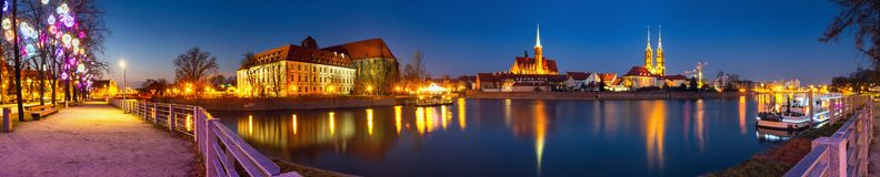 Cityscape, evening panorama - view on the embankment river Odra of the city Wroclaw and its old district Ostrow Tumski. Lower Silesia Province, The Poland stock images