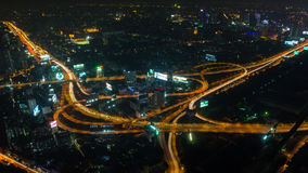 Cityscape, Expressway With Light Of Car On Road And City Royalty Free Stock Image