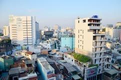 Cityscape för flyg- sikt av den Saigon staden Royaltyfri Bild