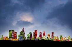 Cityscape för fruktgrönsak Arkivfoton