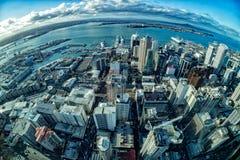 Cityscape för panorama Auckland nyazeeländsk för flyg- sikt Royaltyfri Fotografi