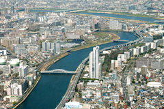 Cityscape för sikt för Tokyo fågelöga sköt från Tokyo Skytree Observatio Arkivbilder