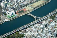 Cityscape för sikt för Tokyo fågelöga sköt från Tokyo Skytree Observatio Arkivbild