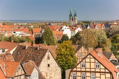 Cityscape with fall colors and church tower in Quedlinburg Royalty Free Stock Image