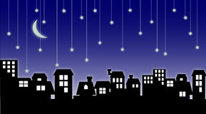 Cityscape & Falling Stars Royalty Free Stock Image