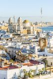 Cadiz cityscape with famous Cathedral, Andalusia, Spain. Cityscape with famous Cathedral of Cadiz by Atlantic Ocean, Cadiz, Andalusia, Spain Royalty Free Stock Photography