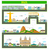 Cityscape with famous monument and building of Brazil. Easy to edit vector illustration of cityscape with famous monument and building of Brazil Stock Photography