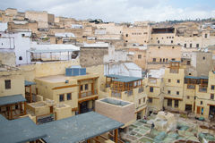 Cityscape of Fez, Morocco. Cityscape of the Medina of Fez, including buildings and a tannery, at Morocco, North Africa Stock Images