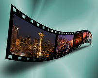 Cityscape filmstrip Stock Photos