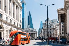 Cityscape of the financial district of London. London, UK - May 14, 2019: Cityscape of the financial district near the Bank of England a sunny day royalty free stock photos