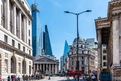 Cityscape of the financial district of London. London, UK - May 14, 2019: Cityscape of the financial district near the Bank of England a sunny day stock photos