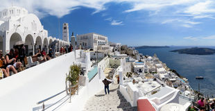 Cityscape of Fira at Santorini Isle Greece Stock Photo