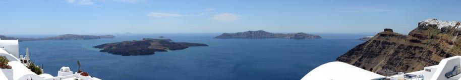 Cityscape of Fira, town at Santorini Isle Greece and Caldera Stock Photography
