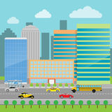 Cityscape flat style. Modern big hight skyscrapers town. Cars on a road in the city. Urban street landscape. Vector illustration. Eps 10 Stock Images
