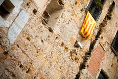 Cityscape and flg. Facade with a flag of independence in Tarragona (Spain royalty free stock photography