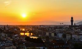 Cityscape Florence för flyg- sikt Panoramasikten från Michelangelo parkerar fyrkanten, Italien Arkivbilder