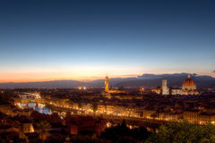 Cityscape Florence, Firenze, Tuscany, Italien natt Arkivfoto