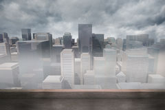 Cityscape in the fog Royalty Free Stock Image