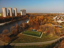 Cityscape with football field in Khimki, Russia royalty free stock photos