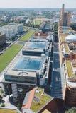 Cityscape från över på den Potsdam fyrkanten i Berlin royaltyfri foto