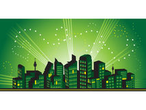 Cityscape frame, silhouettes Stock Image
