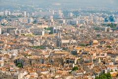 cityscape france marseille stads- bakgrund Arkivfoto