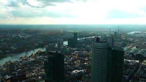 Cityscape Frankfurt Duitsland stock videobeelden