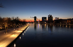 Cityscape of frankfurt, with the main, at night Stock Photography