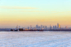 Cityscape of Frankfurt am Main during sunset in winter Royalty Free Stock Images