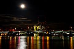 Cityscape of Frankfurt Osthafen at full moon Stock Image