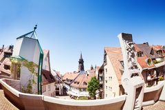 Cityscape of Freiburg with Munster cathedral tower Royalty Free Stock Photo
