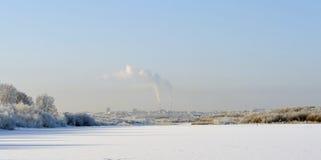 Cityscape by frosty day. Stock Photo