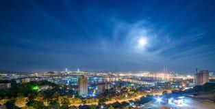 Cityscape. Full moon. Royalty Free Stock Photo