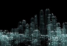 Cityscape futuristic 3d city neon light. 3d illustration. Black background Royalty Free Stock Images