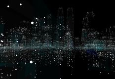 Cityscape futuristic 3d city neon light. 3d illustration. Black background Royalty Free Stock Photo