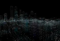 Cityscape futuristic 3d city neon light. 3d illustration. Black background Stock Photos
