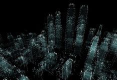 Cityscape futuristic 3d city neon light. 3d illustration. Black background Royalty Free Stock Photography