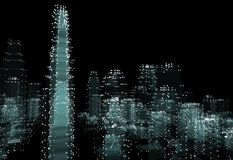 Cityscape futuristic 3d city neon light. 3d illustration. Black background Stock Image